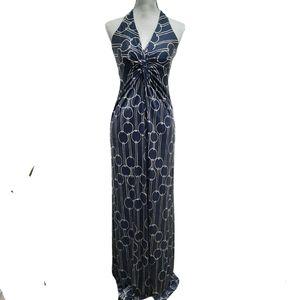 TRINA TURK Silk Halter Maxi Dress